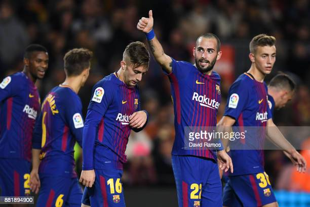 Aleix Vidal of FC Barcelona celebrates after scoring his team's third goal during the Copa del Rey round of 32 second leg match between FC Barcelona...