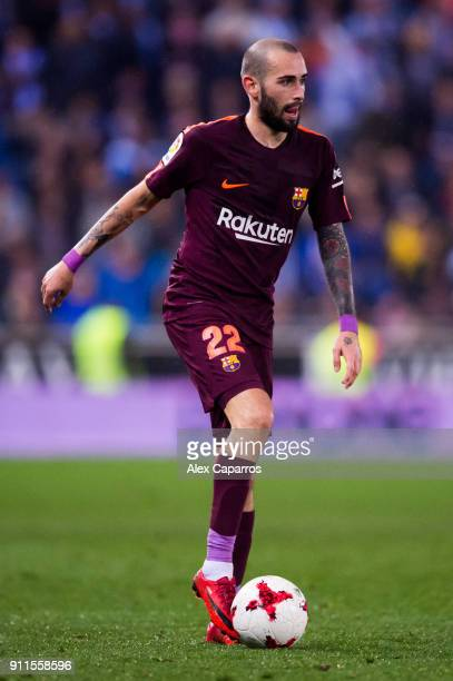 Aleix Vidal of FC Barcelona conducts the ball during the Spanish Copa del Rey Quarter Final First Leg match between Espanyol and Barcelona at Nuevo...