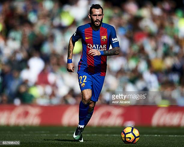 Aleix Vidal of FC Barcelona in action during La Liga match between Real Betis Balompie and FC Barcelona at Benito Villamarin Stadium on January 29...