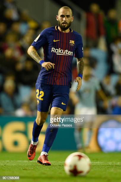 Aleix Vidal of FC Barcelona in action during the Copa del Rey round of 16 first leg match between RC Celta de Vigo and FC Barcelona at Municipal...