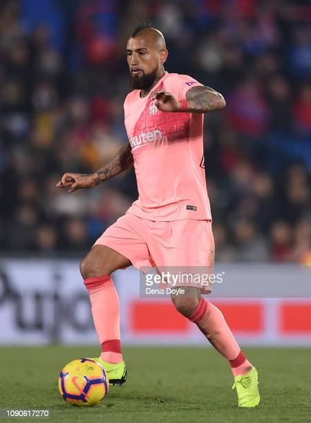 Aleix Vidal of FC Barcelona in action during the La Liga match between Getafe CF and FC Barcelona at Coliseum Alfonso Perez on January 06 2019 in...