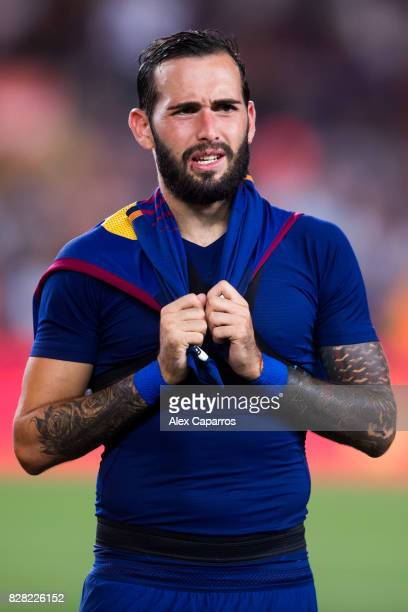 Aleix Vidal of FC Barcelona looks on after the Joan Gamper Trophy match between FC Barcelona and Chapecoense at Camp Nou stadium on August 7 2017 in...