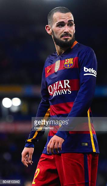 Aleix Vidal of FC Barcelona looks on during the Copa del Rey Round of 16 second leg match between RCD Espanyol and FC Barcelona at the Power8 stadium...