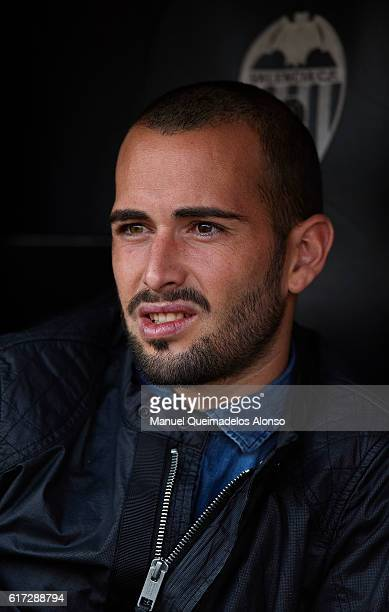 Aleix Vidal of FC Barcelona looks on prior to the La Liga match between Valencia CF and FC Barcelona at Mestalla Stadium on October 22 2016 in...