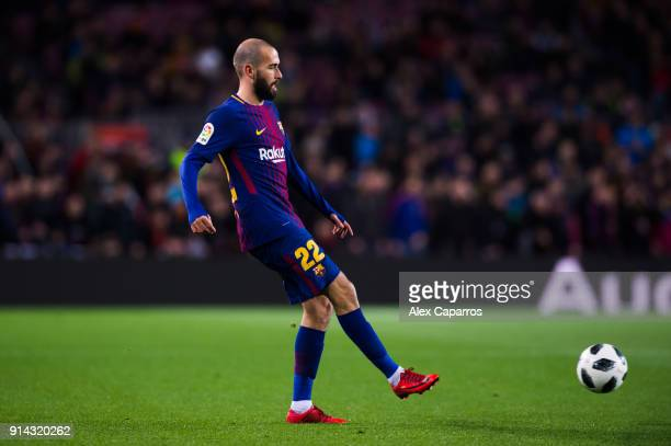 Aleix Vidal of FC Barcelona plays the ball during the Copa del Rey semifinal first leg match between FC Barcelona and Valencia CF at Camp Nou on...