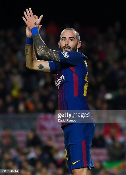 Aleix Vidal of FC Barcelona reacts during the Copa del Rey round of 32 second leg match between FC Barcelona and Real Murcia at Camp Nou on November...