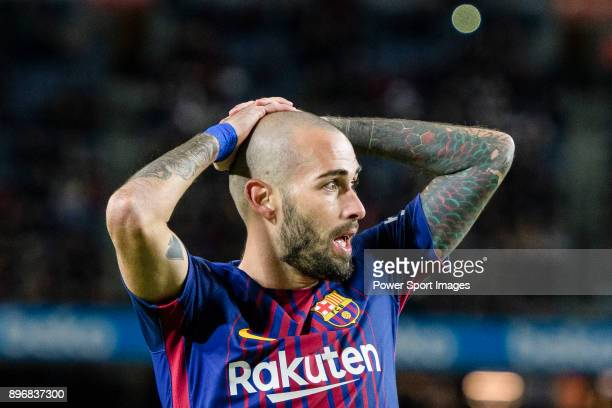 Aleix Vidal of FC Barcelona reacts during the La Liga 201718 match between FC Barcelona and Deportivo La Coruna at Camp Nou Stadium on 17 December...