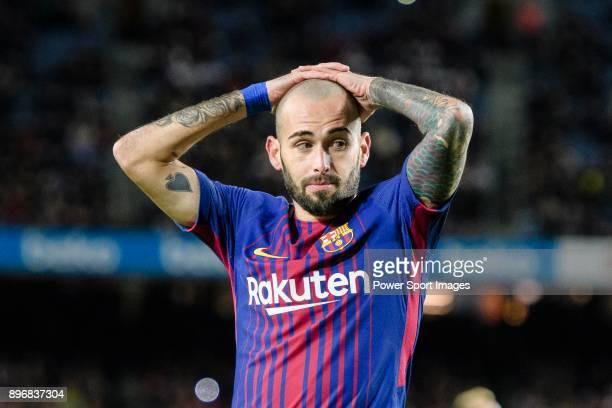 Aleix Vidal of FC Barcelona reacts during the La Liga 201718 match between FC Barcelona and Deportivo La Coruna at Camp Nou Stadium on 17 December...