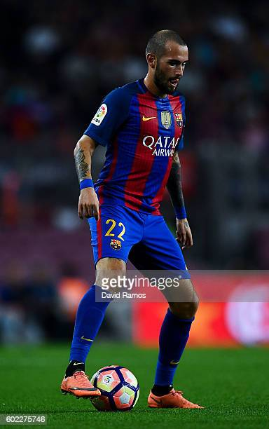 Aleix Vidal of FC Barcelona runs with the ball during the La Liga match between FC Barcelona and Deportivo Alaves at Camp Nou stadium on September 10...