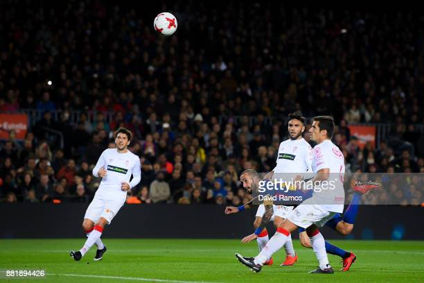 Aleix Vidal of FC Barcelona scores his team's third goal during the Copa del Rey round of 32 second leg match between FC Barcelona and Real Murcia at...