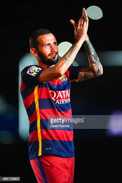 Aleix Vidal of FC Barcelona waves during the team official presentation ahead of the Joan Gamper trophy match at Camp Nou on August 5 2015 in...