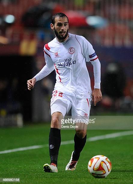 Aleix Vidal of FC Sevilla in action during the UEFA Europa League Round of 16 Second Leg match between FC Sevilla and Villarreal CF at Estadio Ramon...