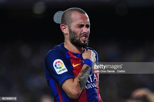Aleix Vidal of FCBarcelona reacts during the Spanish League match between FC Barcelona vs Deportivo Alavés at Nou Camp on September 2016 in Barcelona...