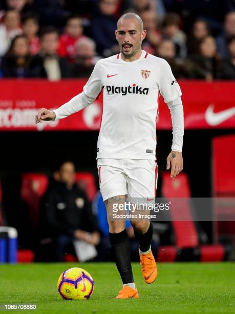 Aleix Vidal of Sevilla FC during the La Liga Santander match between Sevilla v Real Valladolid at the Estadio Ramon Sanchez Pizjuan on November 25...