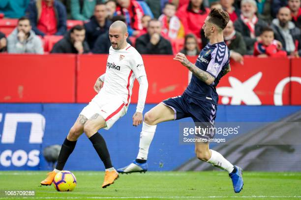 Aleix Vidal of Sevilla FC Fernando Calero of Real Valladolid during the La Liga Santander match between Sevilla v Real Valladolid at the Estadio...