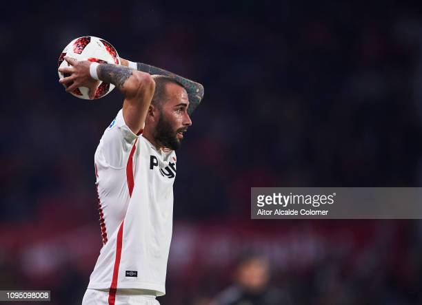 Aleix Vidal of Sevilla FC in action during the Copa del Rey Round of 16 second leg match between Sevilla FC and Athletic Club Bilbao at Estadio Ramon...