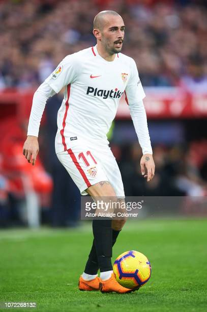 Aleix Vidal of Sevilla FC in action during the La Liga match between Sevilla FC and Real Valladolid CF at Estadio Ramon Sanchez Pizjuan on November...