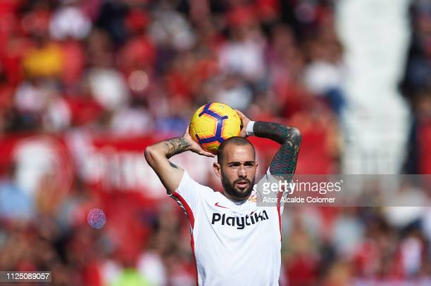 Aleix Vidal of Sevilla FC in action during the La Liga match between Sevilla FC and Levante UD at Estadio Ramon Sanchez Pizjuan on January 26 2019 in...