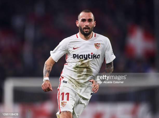 Aleix Vidal of Sevilla FC reacts during the Copa del Rey Round of 16 second leg match between Sevilla FC and Athletic Club Bilbao at Estadio Ramon...