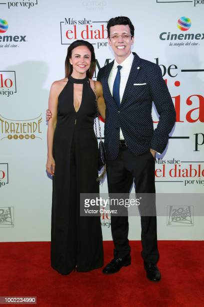 Alejandra Ambrosi and film director Jose Bojorquez attend 'Mas Sabe El Diablo Por Viejo' premiere at Cinemex Antara Polanco on July 19 2018 in Mexico...