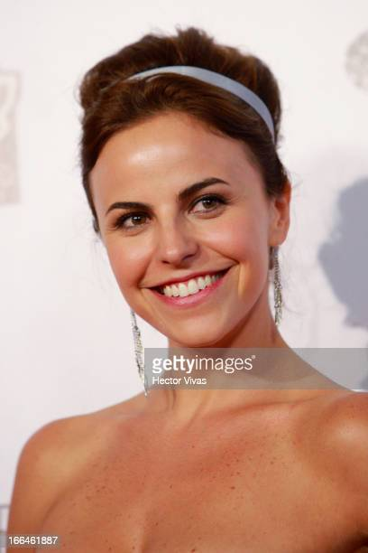 Alejandra Ambrosi poses during the red carpet of the 'Olympus Has Fallen' movie at Antara mall on April 12 2013 in Mexico City Mexico