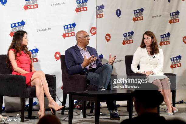 Alejandra Campoverdi Michael Steele and Alison Lundergan Grimes at 'The Obama Legacy' panel during Politicon at Pasadena Convention Center on July 29...