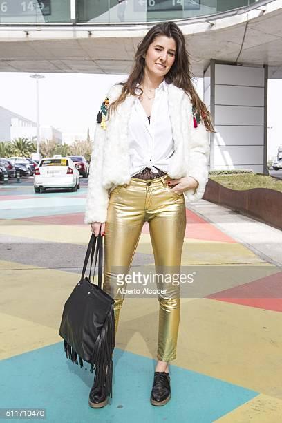 Alejandra Carrasco wears Zara shoes Uterque pants Zara shirt Vintage jacket and Massimo Dutti handbag during Mercedes Benz Fashion Week at Ifema on...