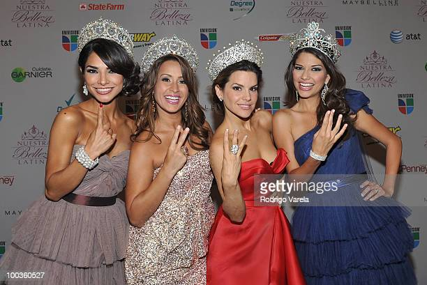 Alejandra Espinoza Melissa Marty Greydis Gil and Ana Patricia Gonzalez pose at Nuestra Belleza Latina final on May 23 2010 in Miami Florida