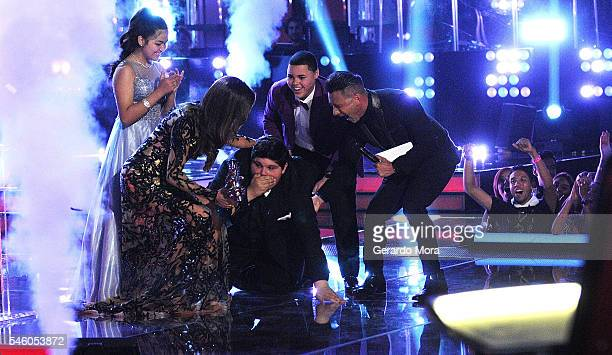Alejandra Gallardo Patricia Manterola Christopher Rivera Axel Cabrera and Jorge Bernal react during Telemundo 'La Voz Kids' Finale at Universal...