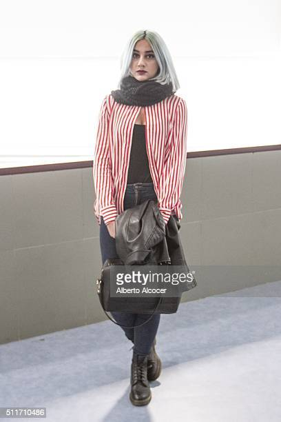 Alejandra Gomez wears Doctor Martens boots Zara pants Vintage shirt and Vintage top during Mercedes Benz Fashion Week at Ifema on February 19 2016 in...