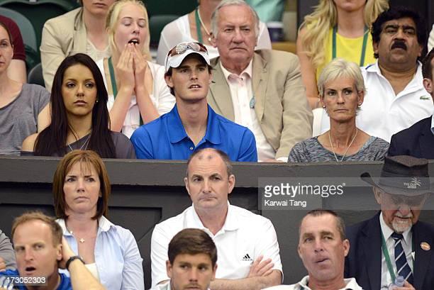 Alejandra Gutierrez Jamie Murray Judy Murray and William Murray attend the Jerzy Janowicz vs Andy Murray match on Day 11 of the Wimbledon Lawn Tennis...