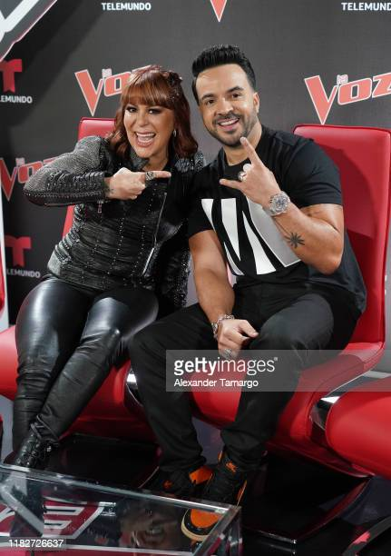 Alejandra Guzman and Luis Fonsi are seen during La Voz press junket at Telemundo Center on November 15 2019 in Miami Florida