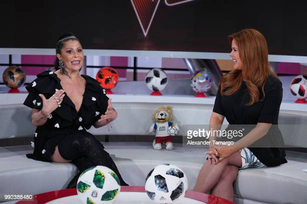 Alejandra Guzman and Maria Celeste Arraras are seen on the set of 'Al Rojo Vivo' to promote La Voz at Telemundo Center on July 5 2018 in Miami Florida