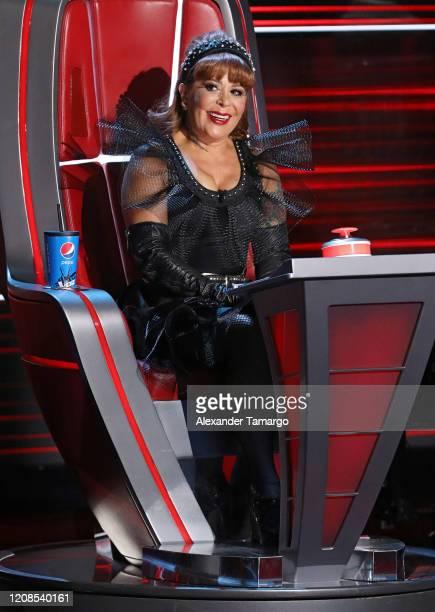 "Alejandra Guzman is seen on stage during Telemundo's ""La Voz"" Batallas Round 4 at Cisneros Studios on March 29, 2020 in Miami, Florida."
