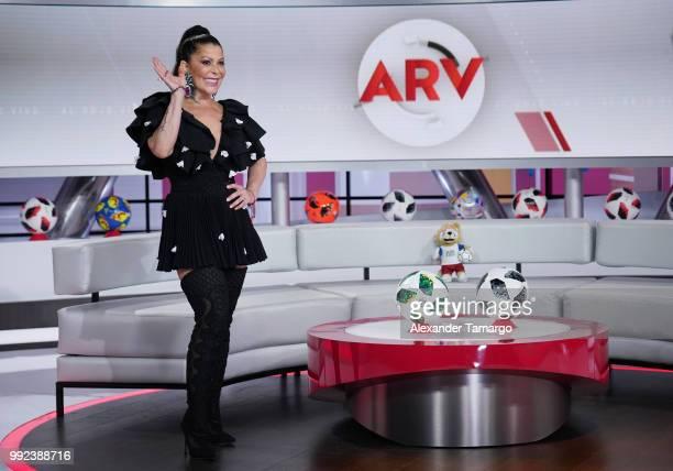Alejandra Guzman is seen on the set of 'Al Rojo Vivo' to promote La Voz at Telemundo Center on July 5 2018 in Miami Florida