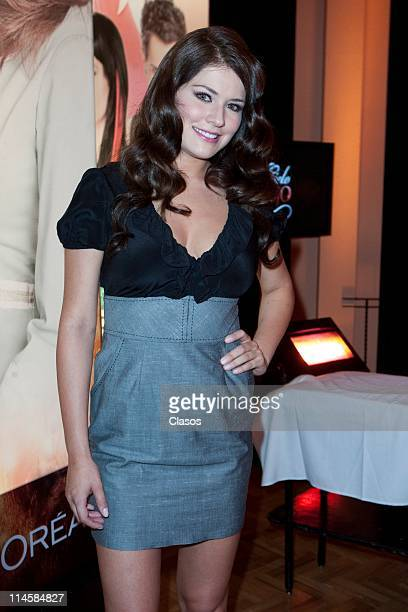 Alejandra Lazcano poses for photos during the presentation of the soap opera Cielo Rojo of TV Azteca at Hacienda de los Morales on May 23 2011 in...