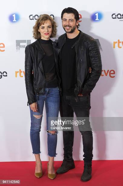 Alejandra Lorente and Angel de Miguel attend 'Fugitiva' Tv Series at the Callao cinema on April 2 2018 in Madrid Spain