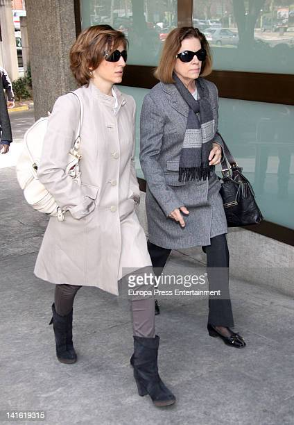 Alejandra Martos and Natalia Figueroa attend the funeral chapel for Paco Valladares on March 18 2012 in Madrid Spain