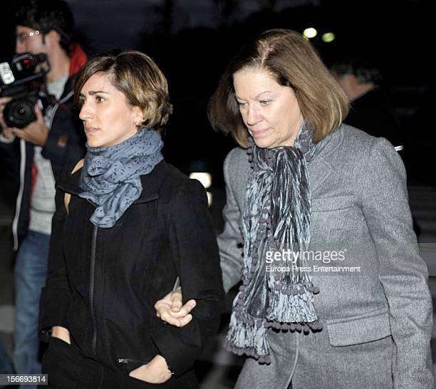 Alejandra Martos and Natalia Figueroa attend the funeral chapel for Emilio Aragon known as 'Miliki' at Tres Cantos Chapel on November 18 2012 in...