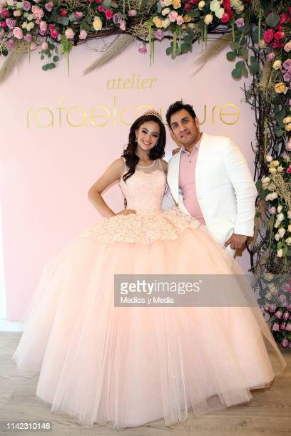 Alejandra Muller and Rafael Couture poses for photos during a photocall at Rafael Couture Boutique on April 12 2019 in Mexico City Mexico