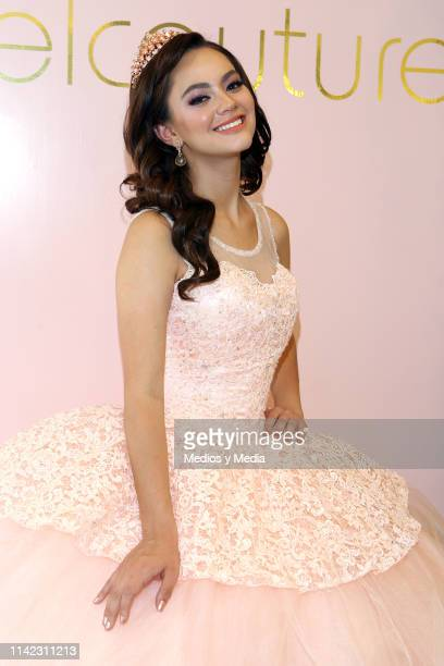 Alejandra Muller poses for photos during a photocall at Rafael Couture Boutique on April 12 2019 in Mexico City Mexico