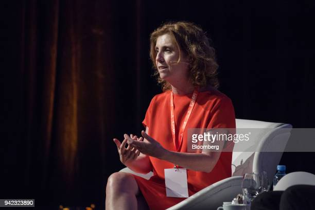 Alejandra Naughton chief financial officer of Grupo Supervielle SA speaks during a panel discussion at the ExpoEFI conference in Buenos Aires...