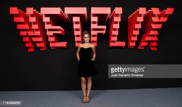 Alejandra Onieva attends the red carpet during the Netflix presentation party at the Invernadero del Palacio de Cristal de la Arganzuela on April 4...