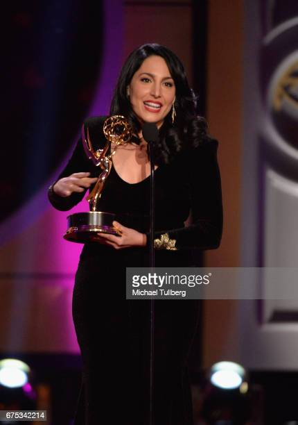 Alejandra Oraa accepts the award for outstanding entertainment program in Spanish language program for 'Destinos' at the 44th annual Daytime Emmy...