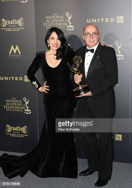 Alejandra Oraa and Eduardo Suarez attend the press room for the 44th annual Daytime Emmy Awards at Pasadena Civic Auditorium on April 30 2017 in...