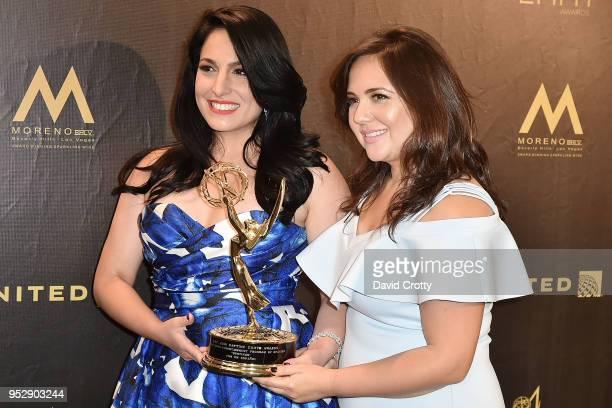 Alejandra Oraa and Natali Monterrosa attend the 2018 Daytime Emmy Awards Press Room at Pasadena Civic Auditorium on April 29 2018 in Pasadena...