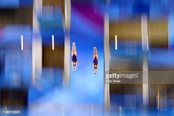 Alejandra Orozco and Gabriela Agundez Garcia of Mexico compete in the women's synchronized diving 10M Final at the Aquatics Center of Villa Deportiva...
