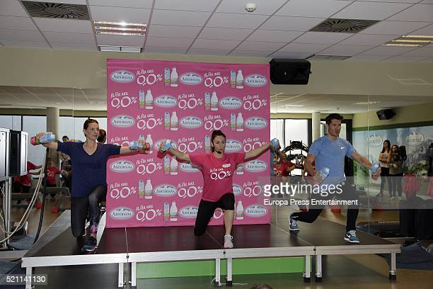 Alejandra Osborne and Jaime Cantizano present Fitness Master Class by Central Lechera Asturiana at GoFit Gym on April 13 2016 in Madrid Spain