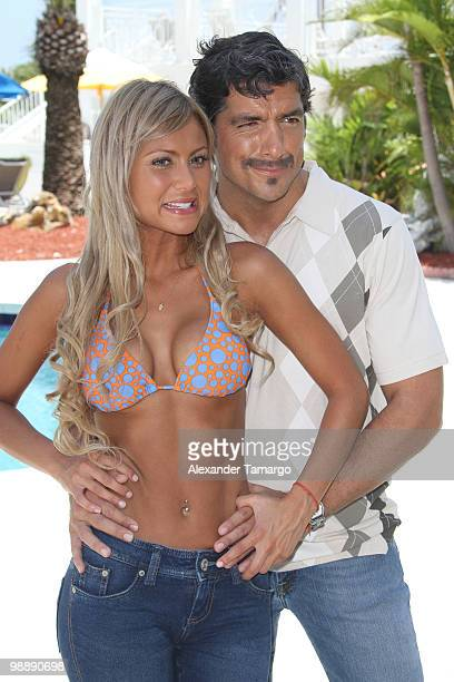 Alejandra Pinzon and Paulo Cesar Quevedo are seen on the set of 'Hotel South Beach Caliente' on May 6 2010 in Miami Beach Florida