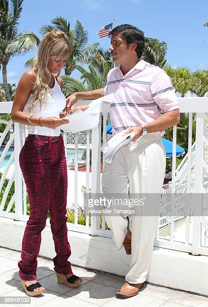 Alejandra Pinzon and Paulo Cesar Quevedo are seen on the set of tv show 'Hotel South Beach Caliente' on May 4 2010 in Miami Beach Florida